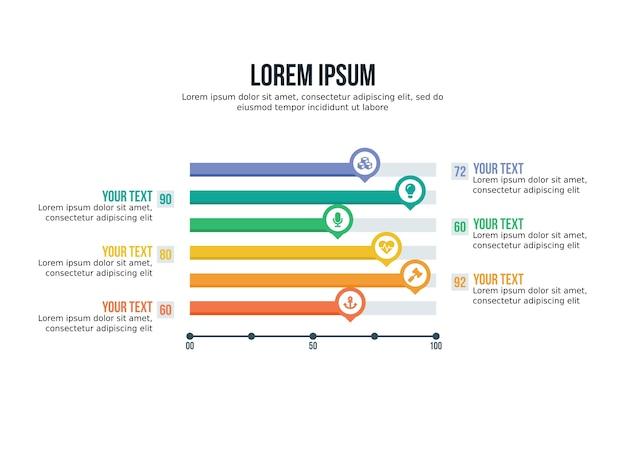 Element plansza wykres słupkowy i szablon prezentacji