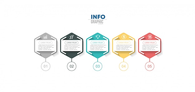 Element plansza z ikonami i 5 opcji lub kroków. może być używany do przetwarzania, prezentacji, schematu, układu przepływu pracy, wykresu informacji, projektowania stron internetowych.