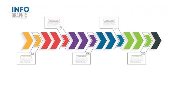 Element plansza z ikonami i 5 opcji lub kroków