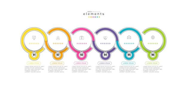 Element plansza z ikonami i 6 opcjami lub krokami.