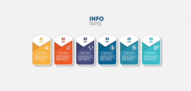 Element plansza z ikonami i 6 opcji lub kroków. może być używany do przetwarzania, prezentacji, schematu, układu przepływu pracy, wykresu informacji, projektowania stron internetowych.