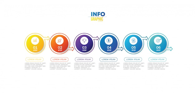 Element plansza z ikonami i 6 opcji lub kroków