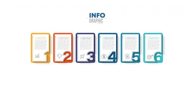 Element plansza z ikonami i 6 opcji lub kroków.