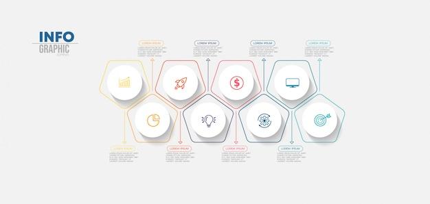 Element plansza z ikonami i 8 opcji lub kroków. może być używany do przetwarzania, prezentacji, schematu, układu przepływu pracy, wykresu informacji, projektowania stron internetowych.