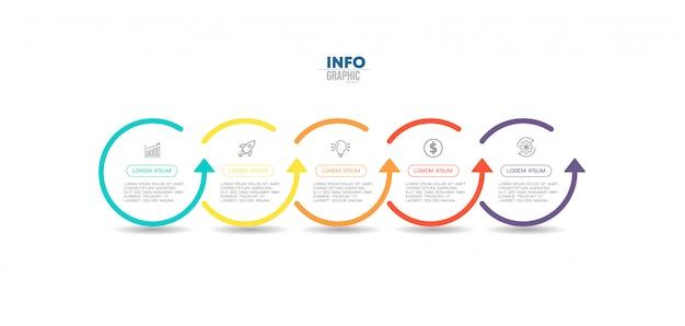 Element plansza z ikonami i pięcioma opcjami lub krokami. może być stosowany do przetwarzania, prezentacji, schematu, układu przepływu pracy, wykresu informacyjnego, projektowania stron internetowych.