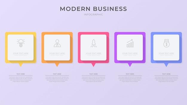 Element procesu kreatywnego infographic z ikoną i edytowalny tekst