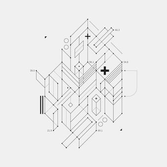 Element projektu abstrakcyjna w projekcie stylu na białym tle. przydatne do drukowania i plakatów techno.