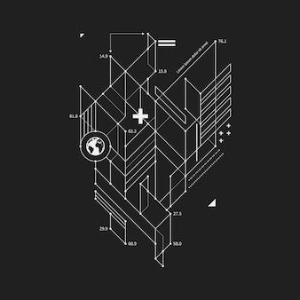 Element projektu abstrakcyjna w projekcie stylu na czarnym tle. przydatne do drukowania i plakatów techno.