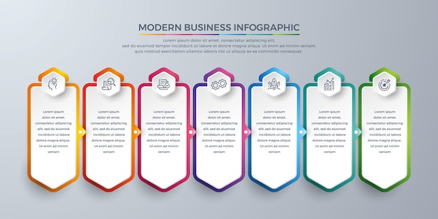 Element projektu infographic szablon z 7 wyborów procesowych lub kroków.