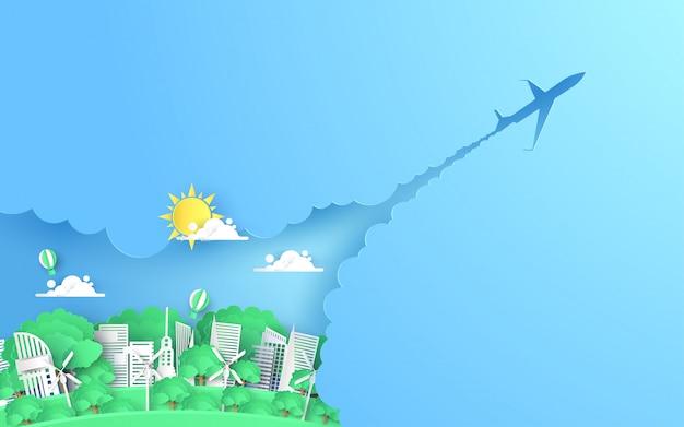 Element projektu paper art z city go green, save world concept, paper art, vector illustration