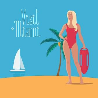Element projektu z dziewczyna surfing na plakat koncepcyjny podróży do ameryki