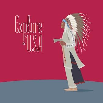 Element projektu z indianinem w tradycyjnym stroju do podróży do ameryki