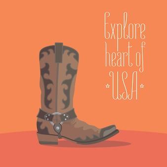 Element projektu z tradycyjnym butem amerykańskiego kowboja w koncepcji podróży do ameryki