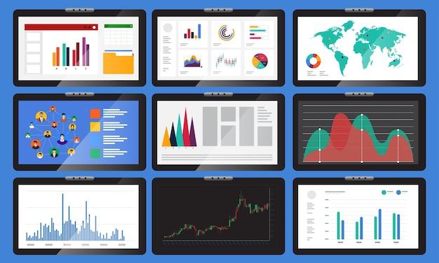 Element set różne monitory wyświetlają wykresy i wykresy