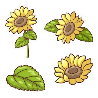 Element słonecznika clipart ilustracja kreskówka wektor botaniczny zestaw elementów żółtego kwiatu