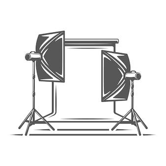Element studia fotograficznego na białym tle
