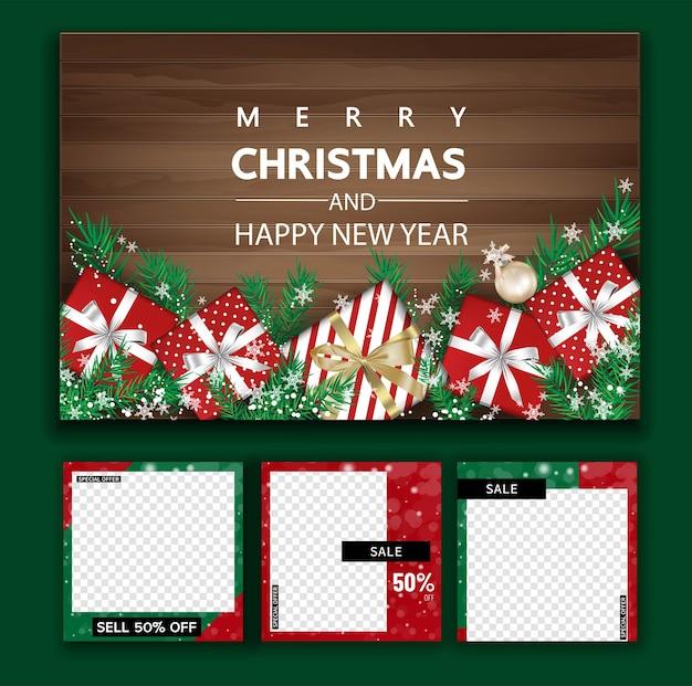 Element świąteczne pomote z mediów społecznościowych, szablony postów promocyjnych. kwadratowa ramka postu na media społecznościowe