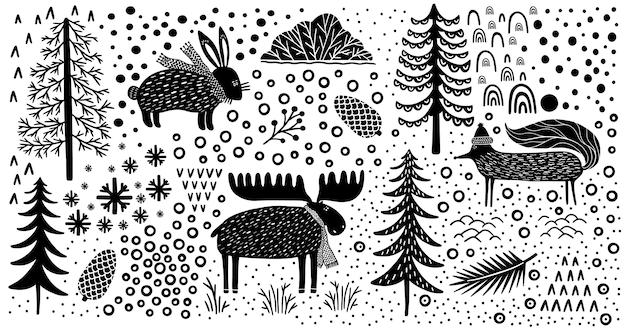 Element zestaw natura las przyrody kanada. lis zwierzęcy, zając, łoś. sezon zimowy park.