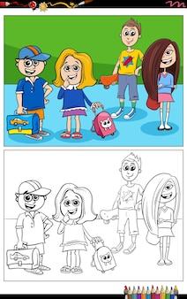 Elementarne ag dzieci komiksowe postacie kolorowanki książki