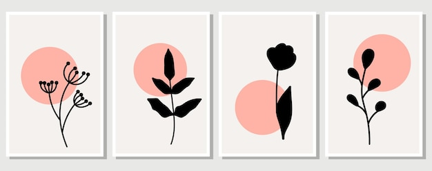 Elementy abstrakcyjne, minimalistyczne proste elementy kwiatowe. liście i kwiaty. kolekcja plakatów artystycznych w pastelowych kolorach. projekt na portale społecznościowe, pocztówki, druki. zarys, linia, styl bazgroły.
