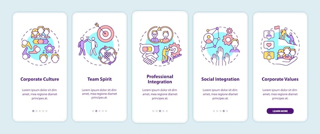 Elementy adaptacyjne pracownika wprowadzające ekran strony aplikacji mobilnej z koncepcjami. praca w grupie. kroki przejścia kultury korporacyjnej. ilustracje szablonów interfejsu użytkownika