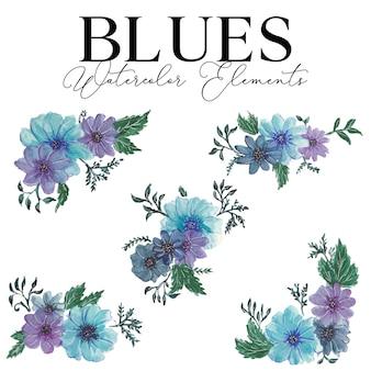 Elementy akwarela kwiat bluesa