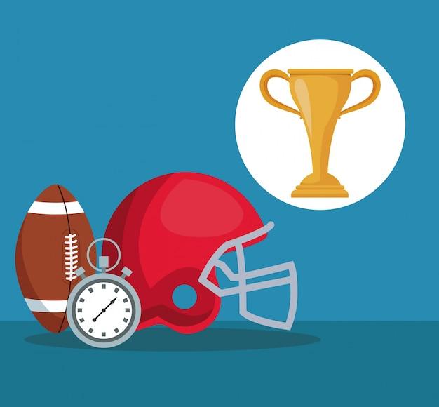 Elementy amerykańskiej piłki nożnej i chronometr z okrągłym trofeum puchar ramki
