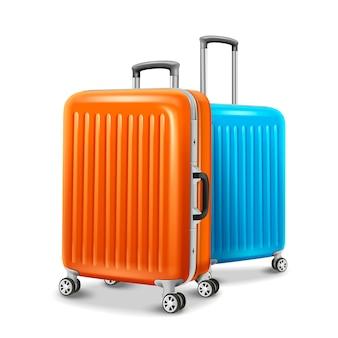 Elementy bagażu podróżnego, dwa niezbędne elementy podróżne w kolorze pomarańczowym i niebieskim na ilustracji