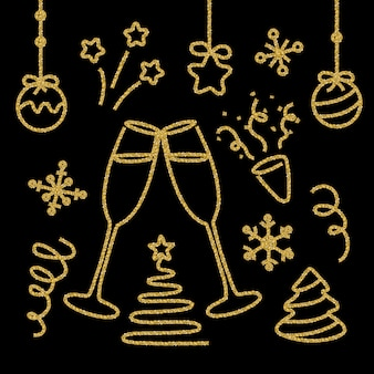 Elementy brokatowe złote noworoczne zestaw na czarno