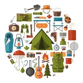 Elementy campingowe i turystyczne. zestaw ikon wędrówki po lesie.