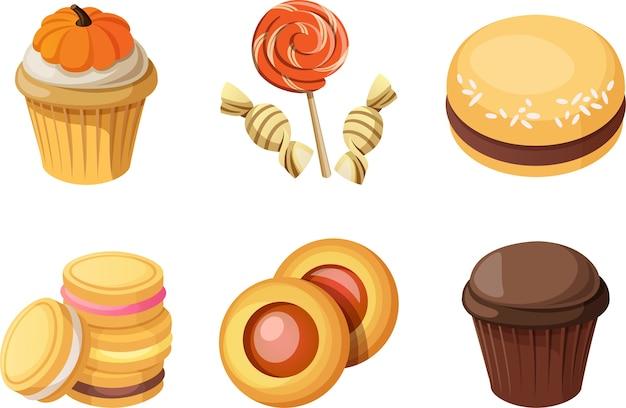 Elementy ciasta cukierki