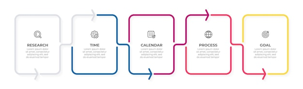Elementy cienkiej linii do koncepcji biznesowej infografiki z 5 opcjami kroków lub procesów