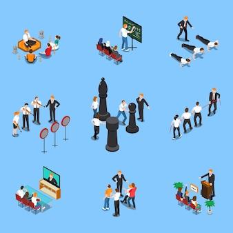 Elementy coachingu biznesowego ludzie symbole izometryczny zestaw z celów motywacji, ustawienie planowania szkoleń seminariów na białym tle