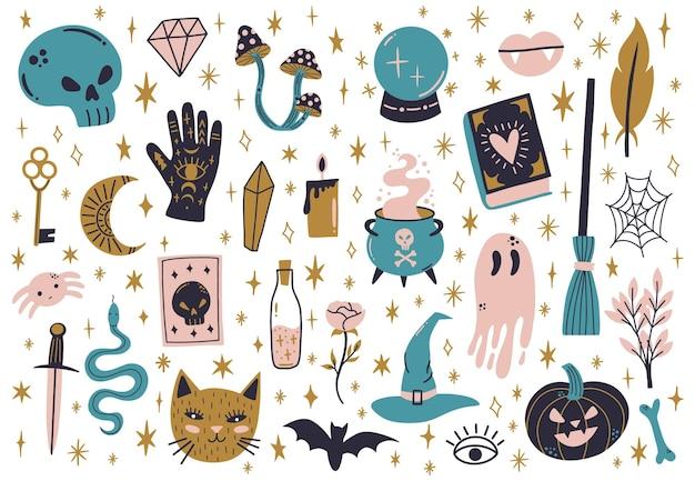 Elementy czarnoksięstwa halloween. magiczny doodle eliksir czarownicy, czaszka, wąż i magiczny kociołek