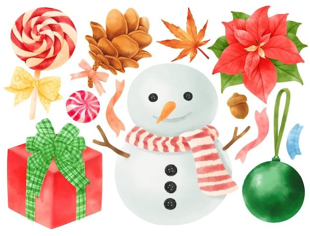 Elementy dekoracji świątecznej ilustracje style akwareli