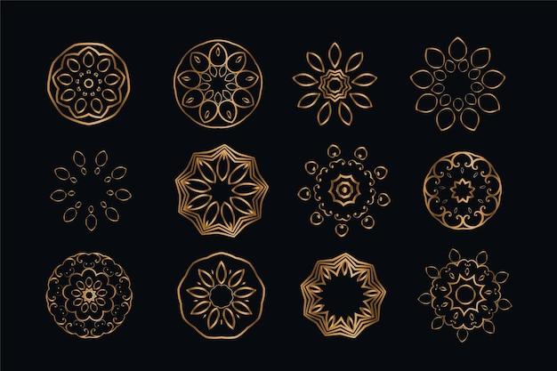 Elementy dekoracji w stylu mandali zestaw dwunastu