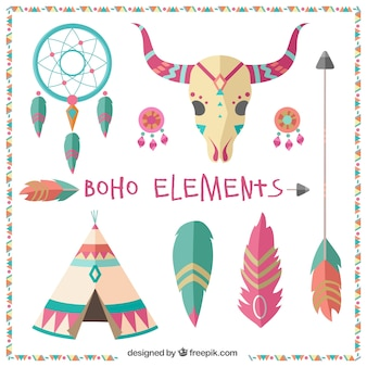 Elementy dekoracyjne etniczne w płaskiej konstrukcji