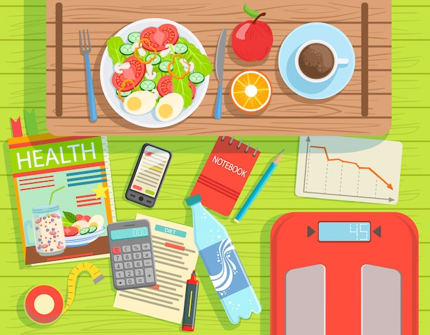 Elementy diety i odchudzania zestaw widok z góry