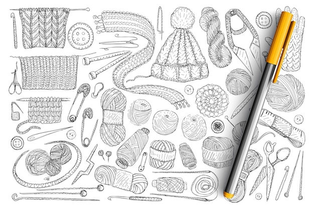 Elementy do dziania doodle zestaw. kolekcja ręcznie rysowane wełny, dzianiny, igieł, szpilek, taśmy mierniczej i nożyczek do dziania na białym tle.
