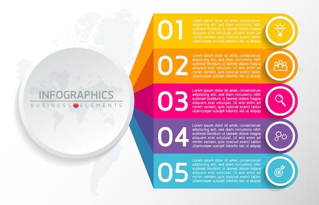 Elementy do infografiki. prezentacja i wykres. kroki lub procesy. numer opcji szablon przepływu pracy. 5 kroków.