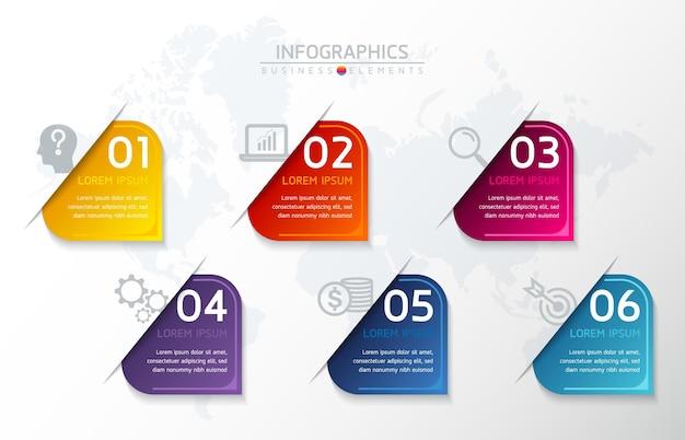 Elementy do infografiki. prezentacja i wykres. kroki lub procesy. numer opcji szablon przepływu pracy. kroki.