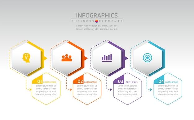 Elementy do infografiki. prezentacja i wykres. kroki lub procesy. opcje numer projektu szablonu przepływu pracy. 4 kroki.
