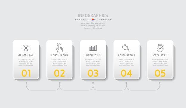 Elementy do infografiki. prezentacja i wykres. kroki lub procesy. opcje numer projektu szablonu przepływu pracy. 5 kroków.