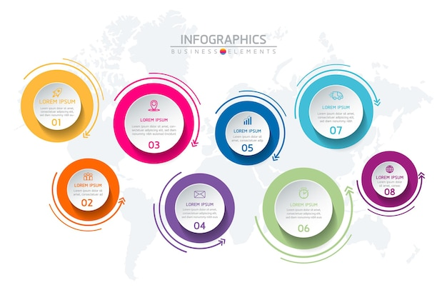 Elementy do infografiki. prezentacja i wykres. kroki lub procesy. opcje numer projektu szablonu przepływu pracy. 8 kroków.