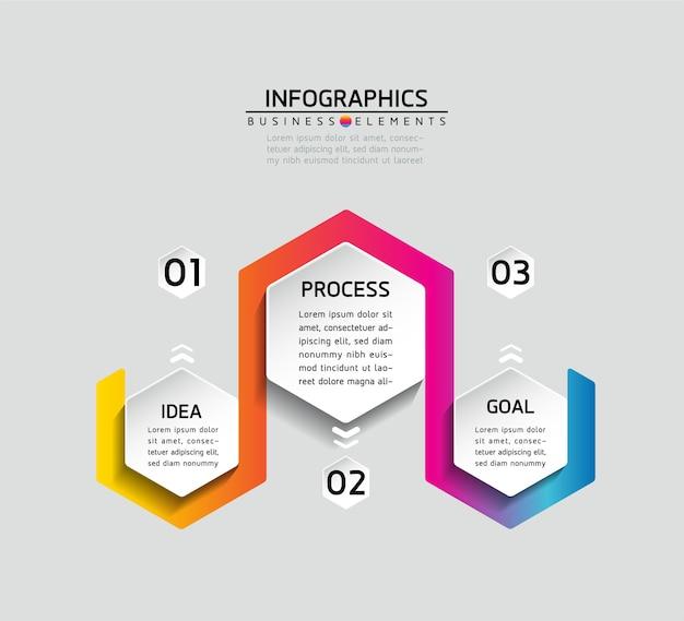 Elementy do prezentacji infografiki i kroki wykresu lub opcje procesów liczba kroków szablonu przepływu pracy
