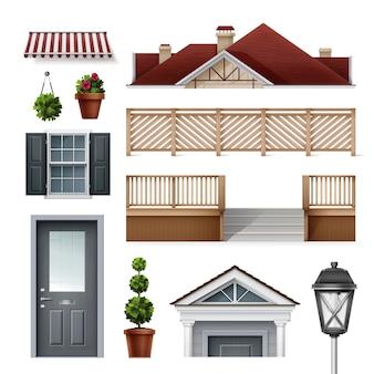 Elementy domu okna i drzwi ławki