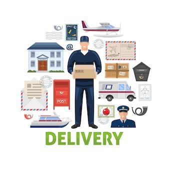 Elementy dostawy pocztowej ustawione w kształcie koła z przewoźnika transportu skrzynek pocztowych korespondencji i ładowarki na białym tle ilustracji wektorowych