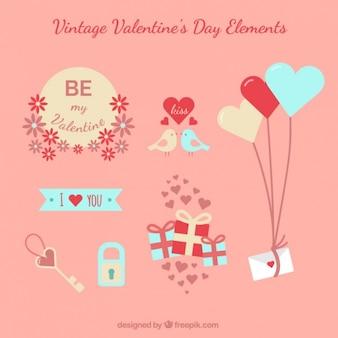 Elementy dzień vintage valentine