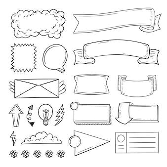 Elementy dziennika punktorów ręcznie rysowane miejsce