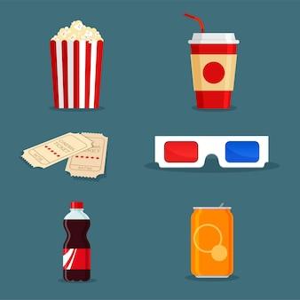Elementy filmowe. napój sodowy w puszce i butelce, popcorn w klasycznym białym kartonowym pudełku w paski, bilety i okulary 3d w stylu kreskówki na plakat kinowy. fast food na wynos w modnym stylu płaski.